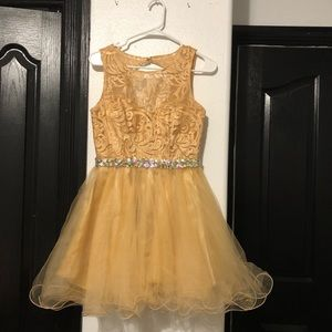 Formal champagne gold dress with rhinestone belt